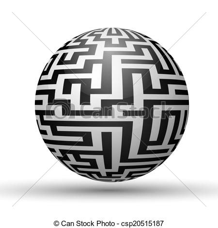 Vector of Endless maze with spherical shape, vector illustration.
