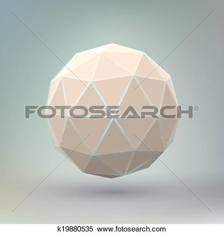 Clipart of Abstract geometric spherical shape. k19880535.