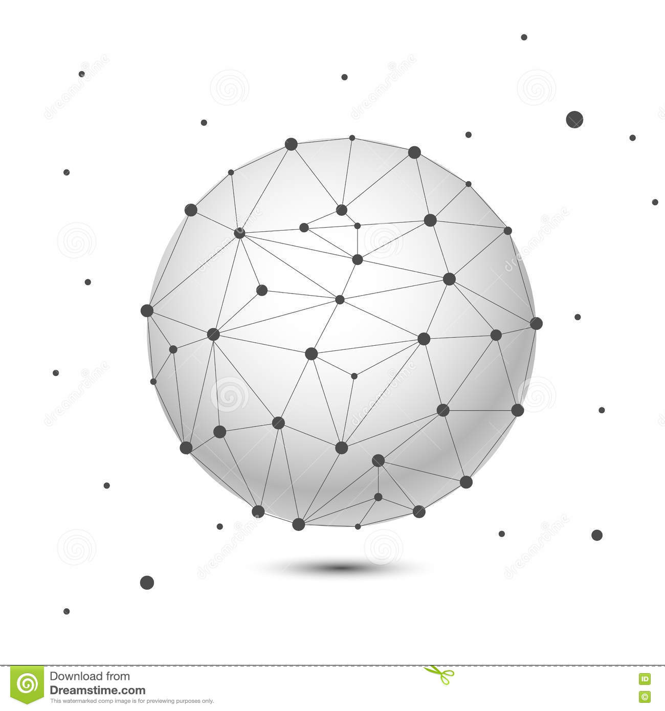 Global Network, Sphere. Abstract Geometric Spherical Shape With.