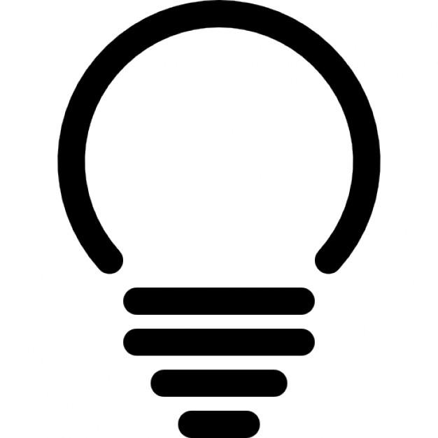 Lightbulb of spherical shape Icons.