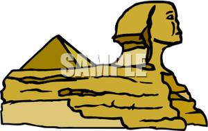 Egyptian Sphinx and a Pyramid.