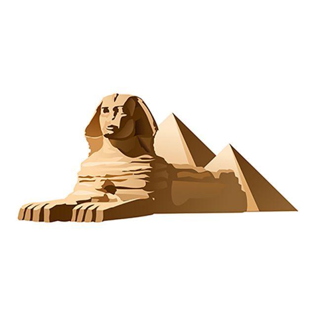 Vector Illustration Egyptian Sphinx, Vacation, Travel, 3d.