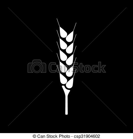 Vector Clipart of The wheat icon. Spica symbol. Flat Vector.