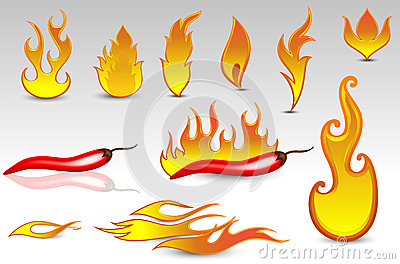 Fire Flames Vectors And Design Icons Stock Illustration.