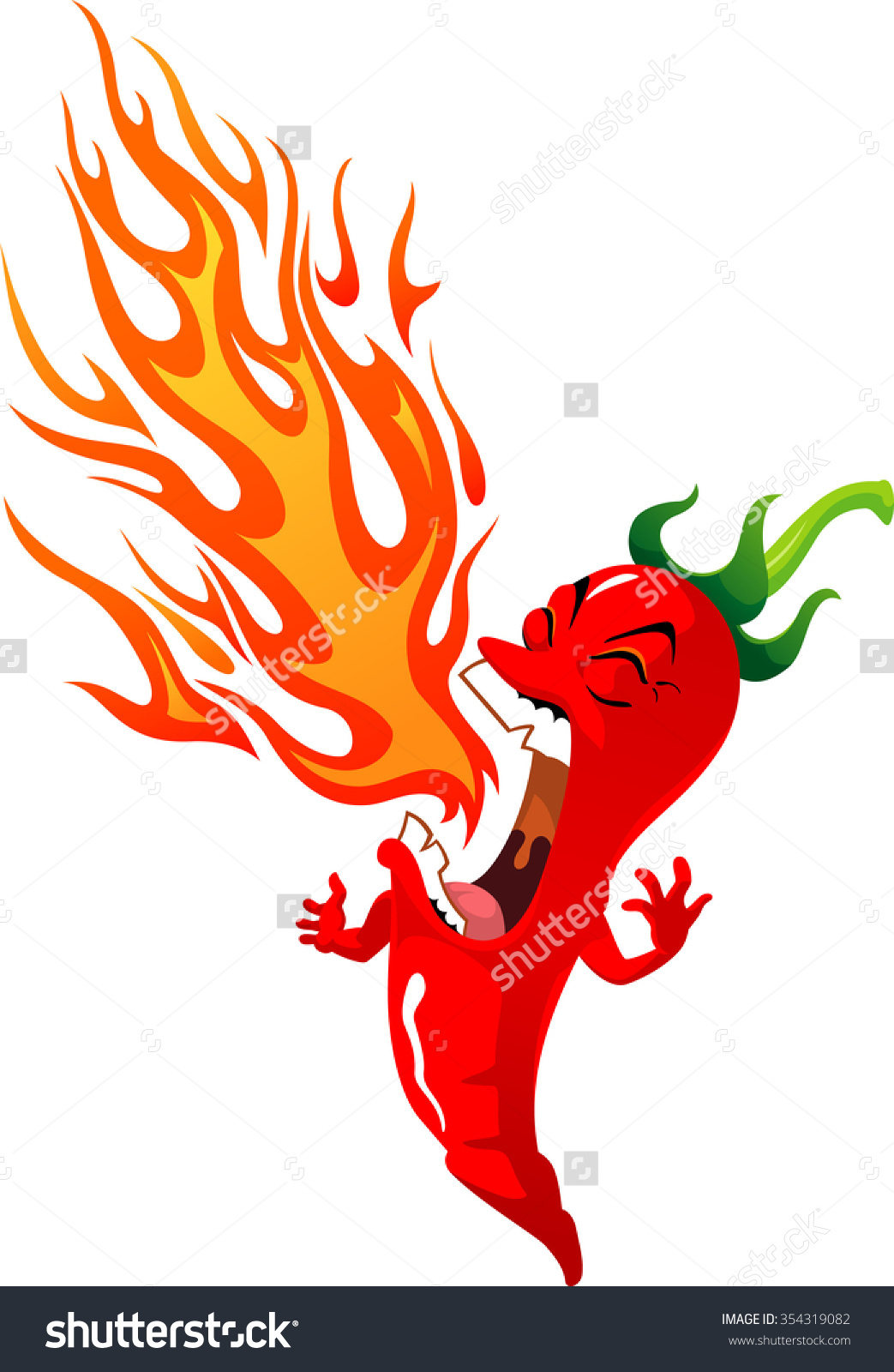Fire Breathing Chilired Hot Spicy Chili Stock Vector 354319082.