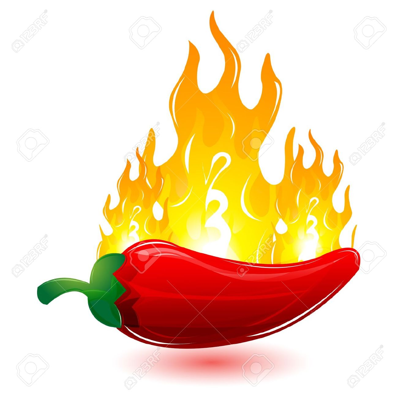 Illustration Of Red Chilli With Fire On White Background Royalty.