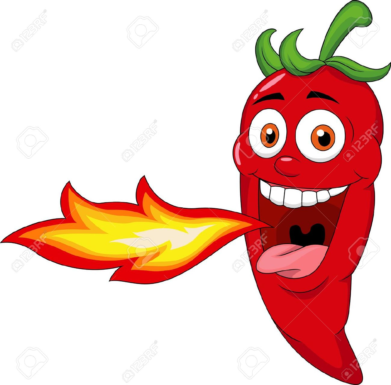 Chili Cartoon Character Breathing Fire Royalty Free Cliparts.