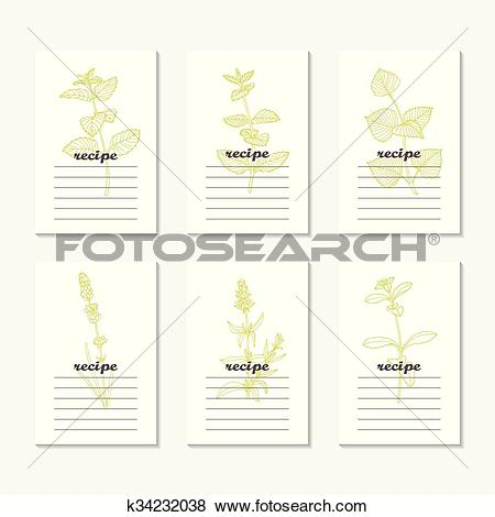 Clip Art of Recipe cards collection with hand drawn spicy herbs.