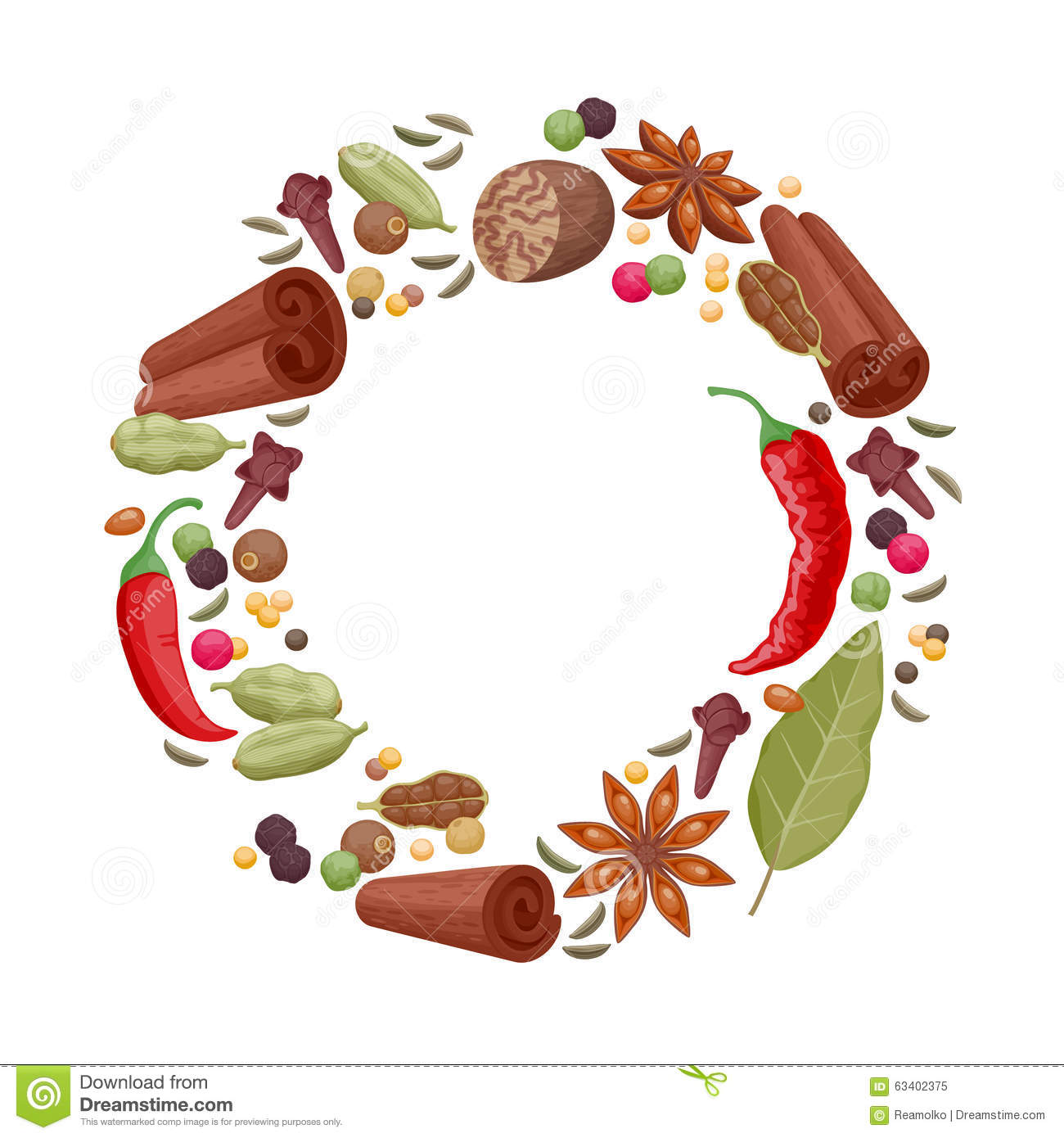Spices And Herbs Icons Round Frame Illustration Stock Vector.