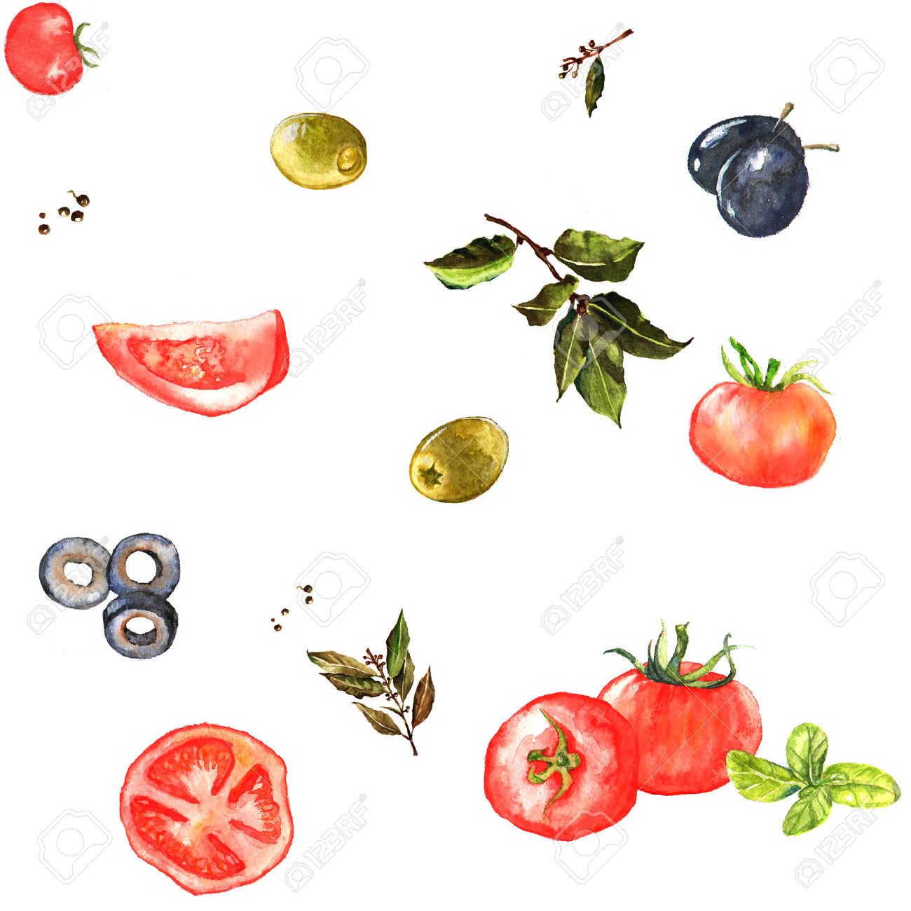Watercolor Seamless Pattern With Vegetables.