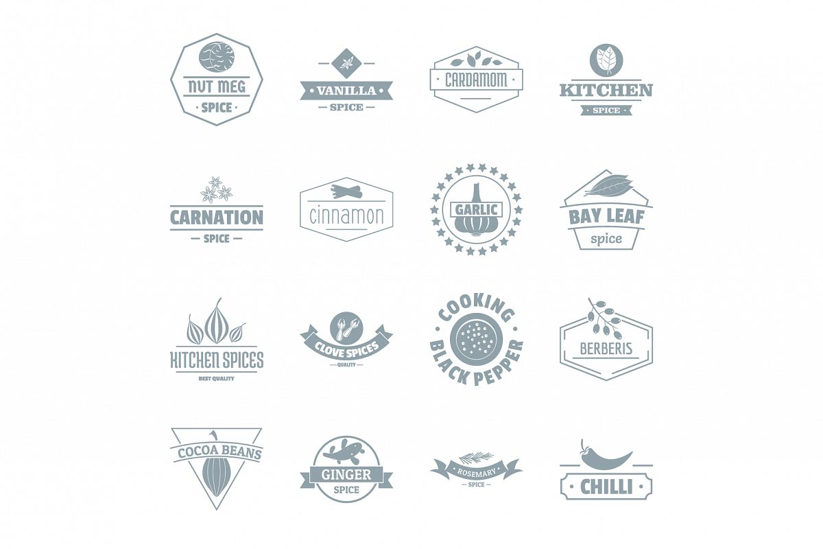 Spice logo icons set, simple style.