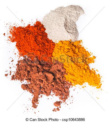 Pictures of chilli powder. Spice Mix on background.