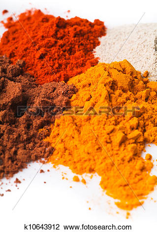 Stock Photo of chilli powder. Spice Mix on background k10643912.