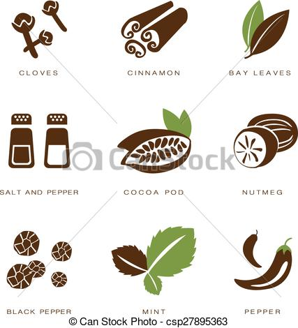 Clip Art Vector of Spices, Condiments and Herbs Vector.