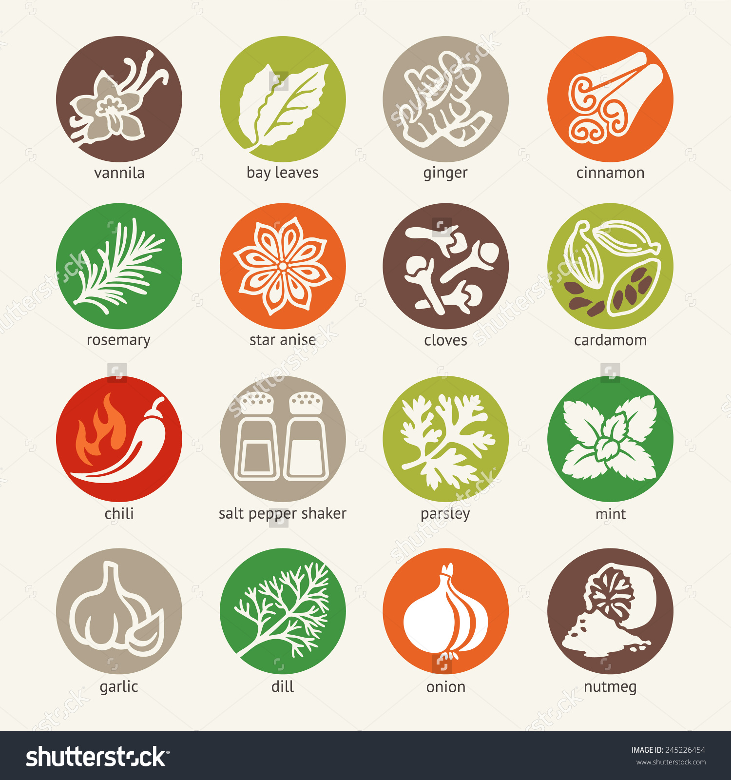 Colorful Icon Set Cooking Ingredients Spices Stock Vector.