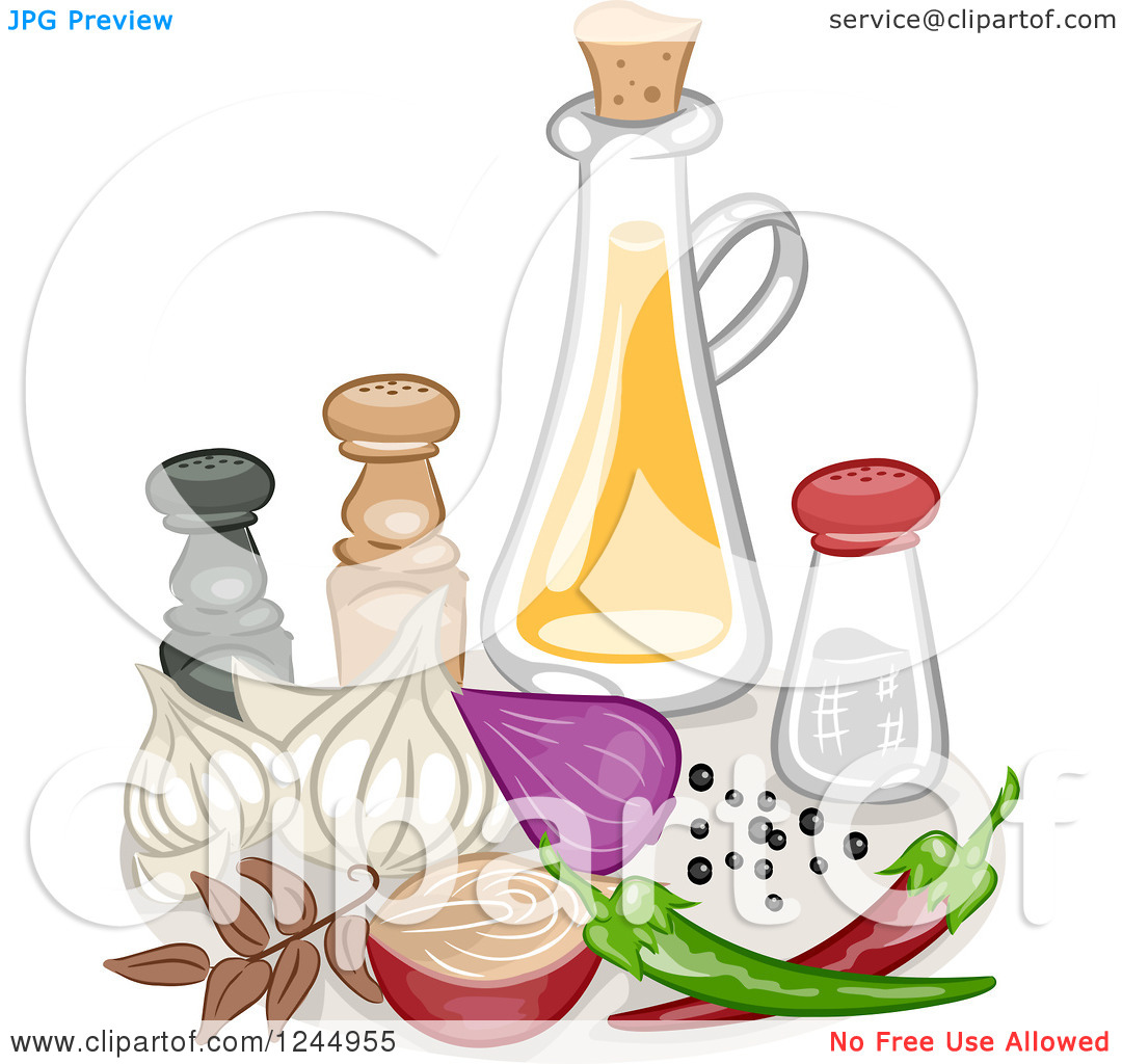 Clipart of a Still Life of Condiments and Spices.