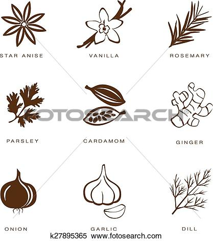 Clipart of Spices, Condiments and Herbs Vector k27895365.