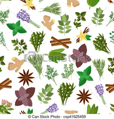 Clipart Vector of Fresh herb, spice, condiment seamless pattern.