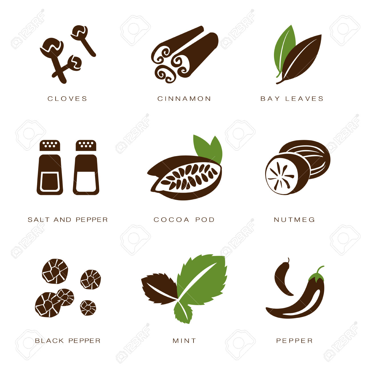 Colorful Web Icon Set Spices, Condiments And Herbs Royalty Free.