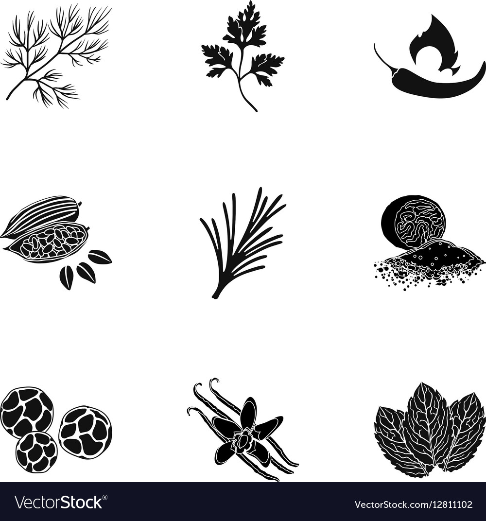 Herb and spices set icons in black style Big.