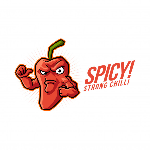 Cartoon spicy chilli mascot logo Vector.