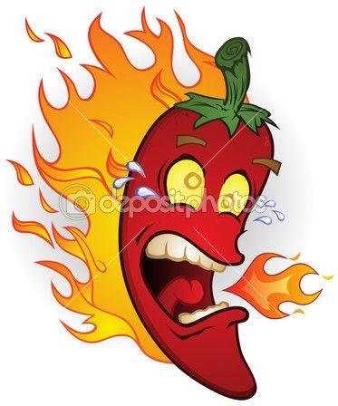 Flaming Hot Chili Pepper Cartoon Character &mdash Stock.