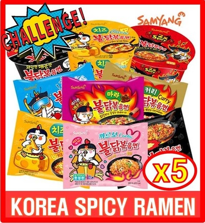 Samyang[SAMYANG] korea spicy chicken noodle ramen ramyun fire/hot/  challenge 5ea curry/cheese/mara/carbo.
