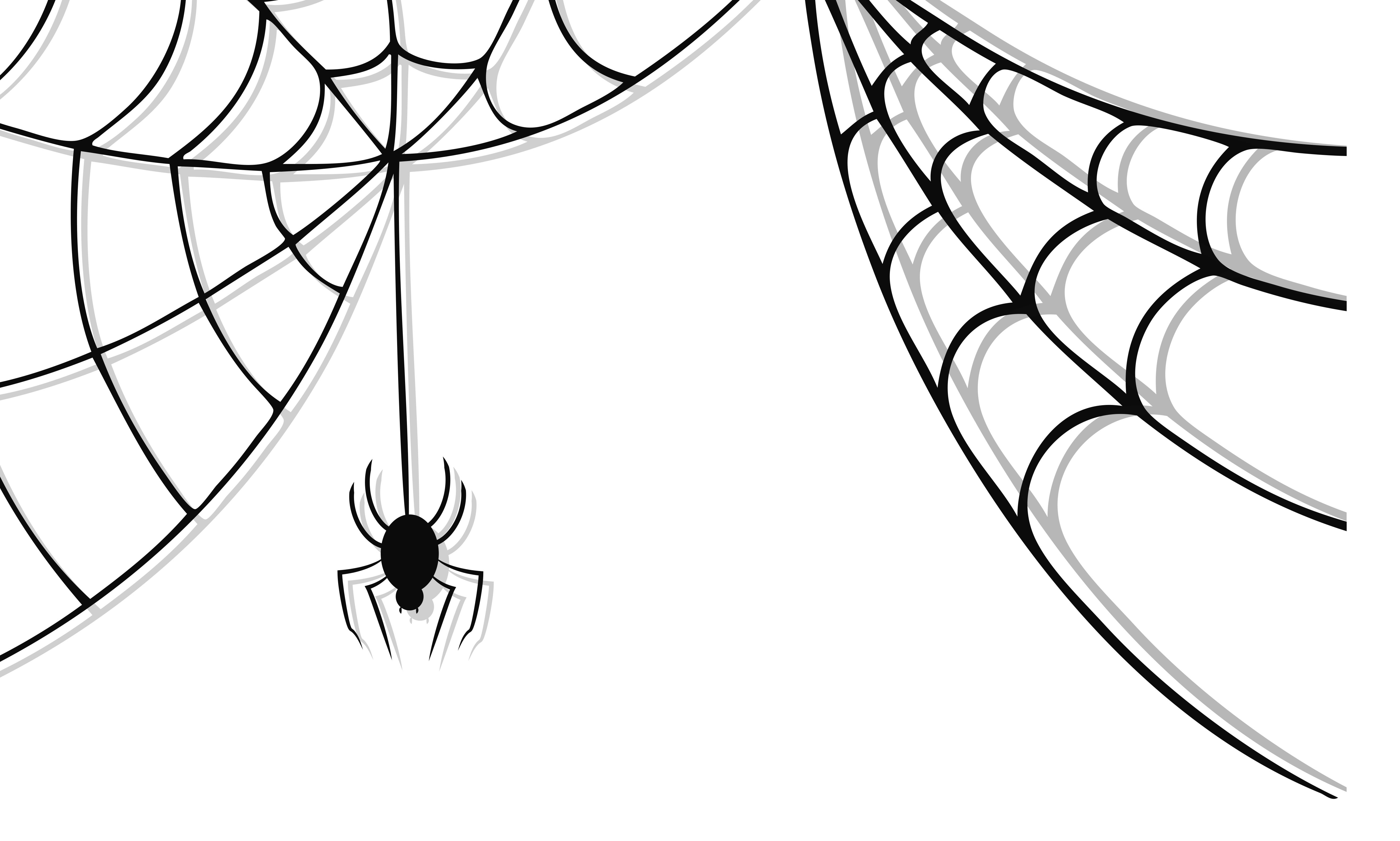 Haunted Spider and Web Clipart.