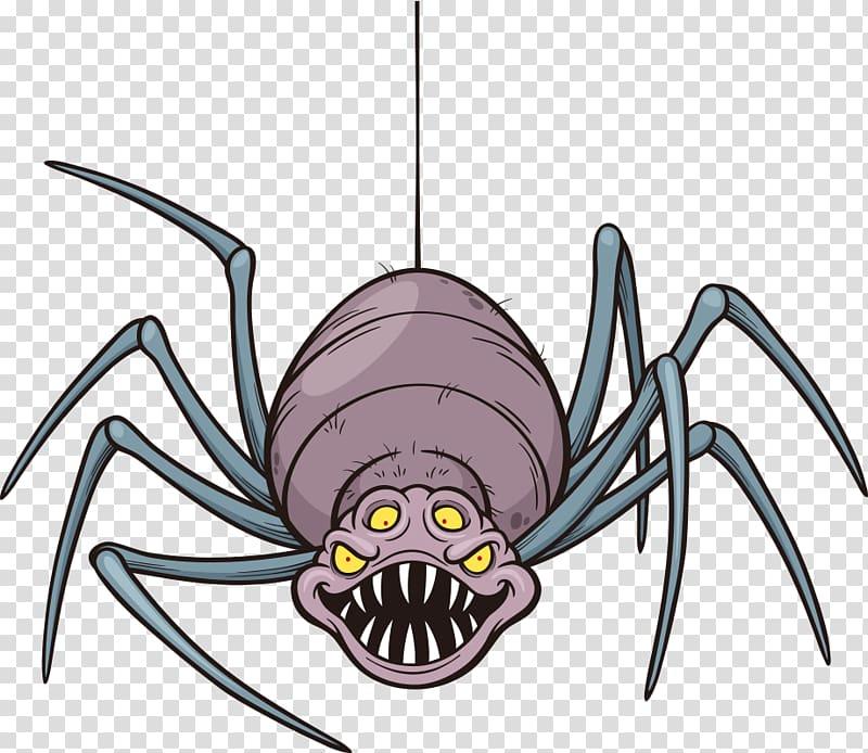 Spider Cartoon Illustration, spider transparent background.