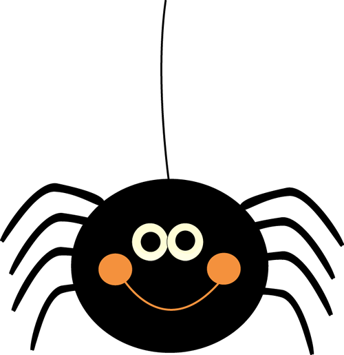 Cute Hanging Halloween Spider Clip Art.