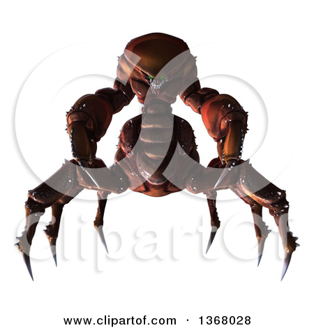 Clipart of a 3d Alien with Sharp Pointy Spider like Legs.