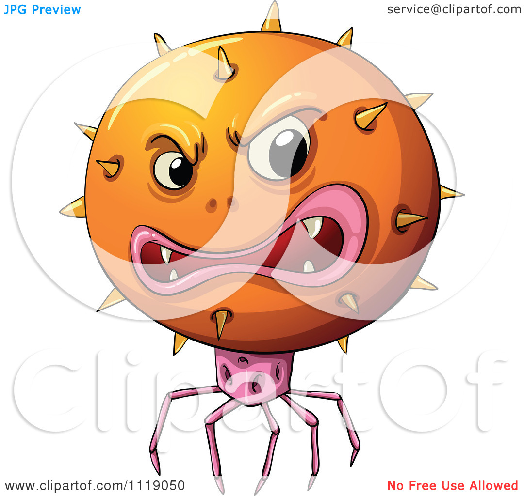 Cartoon Of An Orange Alien Or Virus With Spider Like Robotic Feet.
