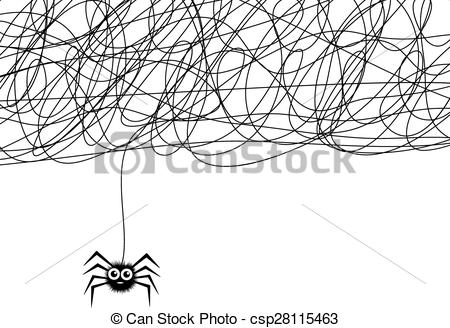 Clip Art Vector of vector cartoon of cute hanging spider and web.