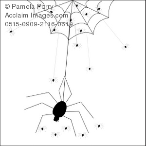 Clip Art Illustration of a Mother Spider and Her Babies.