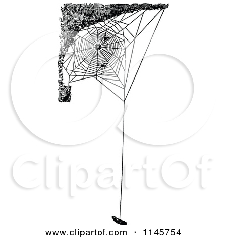 Clipart of a Retro Vintage Black and White Spider Wrapping Its.