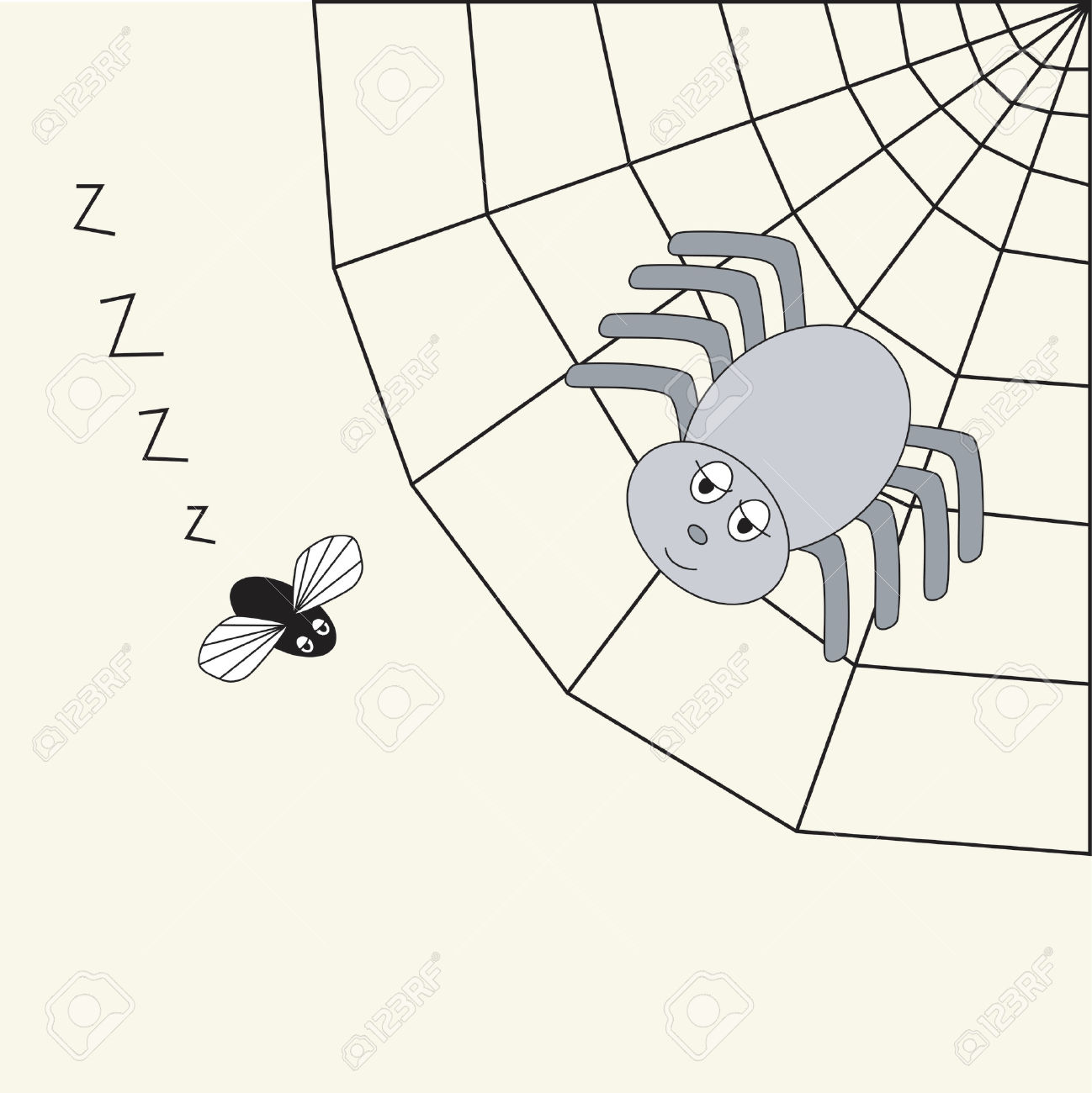 Spider In Its Web, Watching Its Prey Royalty Free Cliparts.