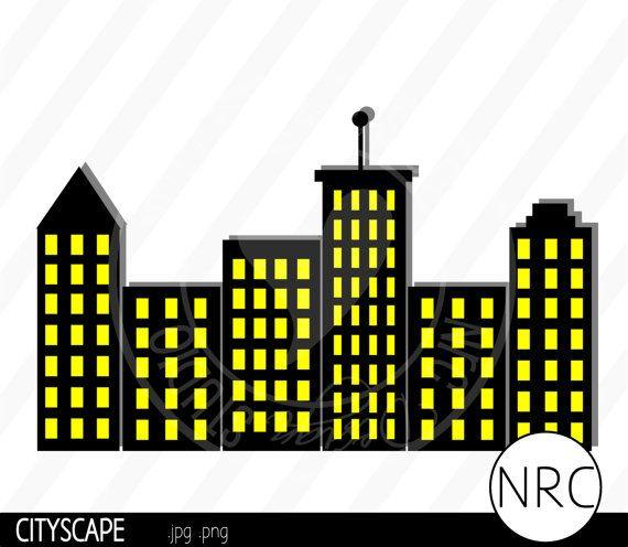 Superhero Skyline Clipart Cityscape skyline clip art in 2019.