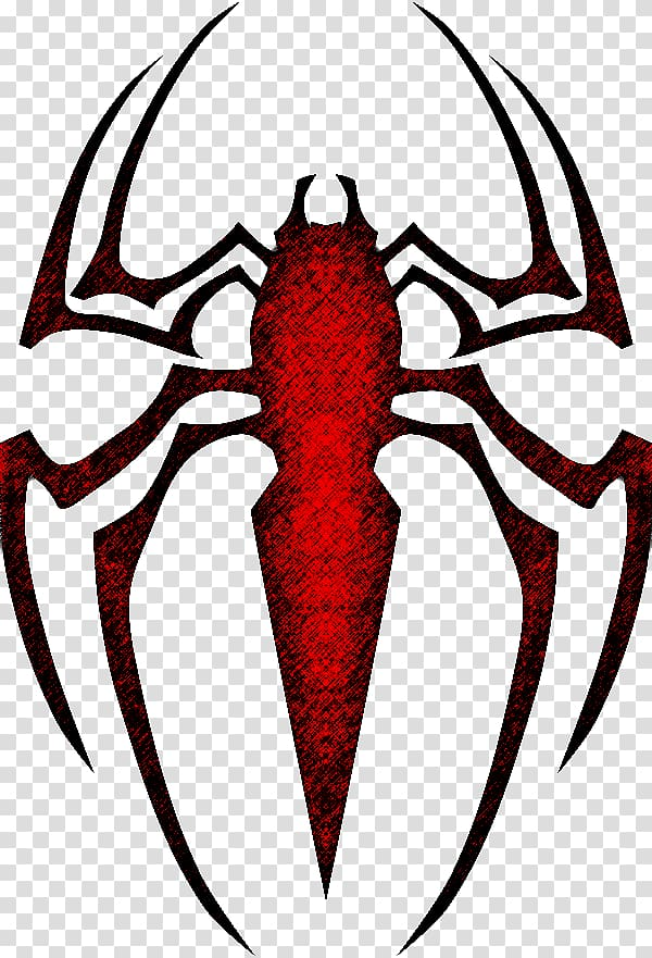 Red and black spider logo screenshot, The Amazing Spider.