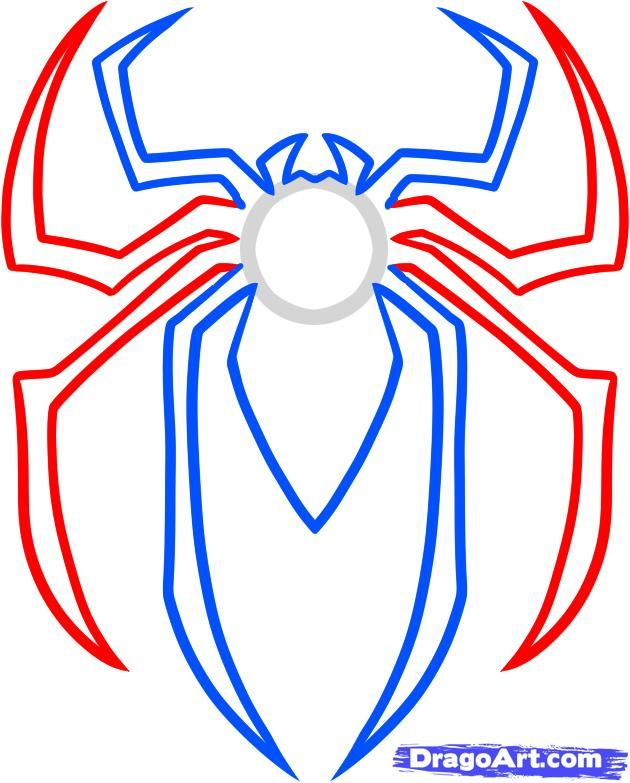 how to draw the spiderman logo, spiderman symbol step 4.