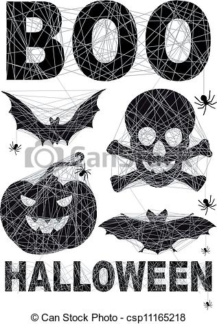 Vector Clip Art of Halloween icon set with spidernet, vector.
