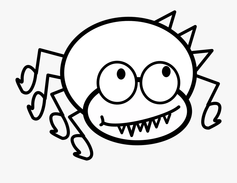 Cute Spider Clipart Black And White , Transparent Cartoon.