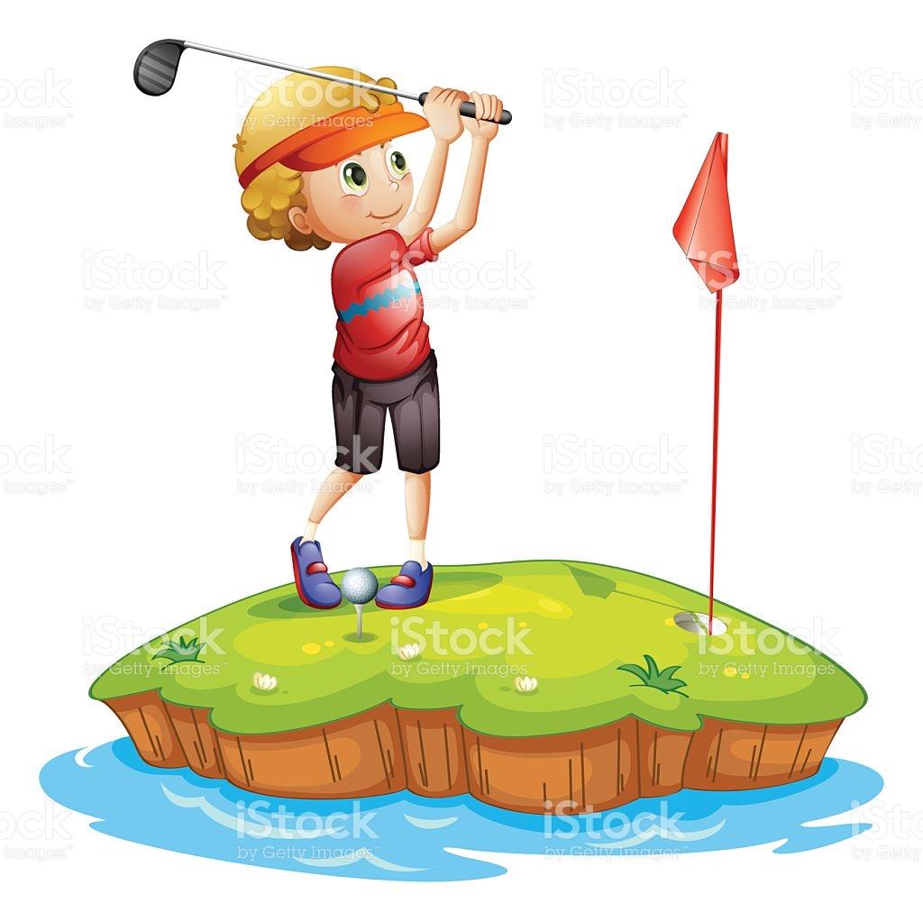 Golf Spielen Clipart.