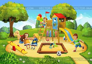 Park, Spielplatz Hintergrund.