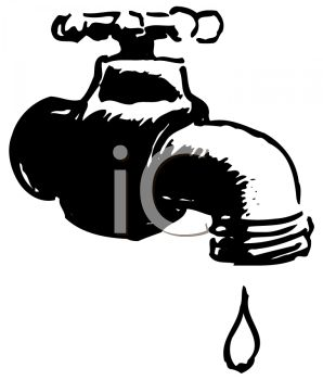 Black and White Drawing of a Leaky Faucet.