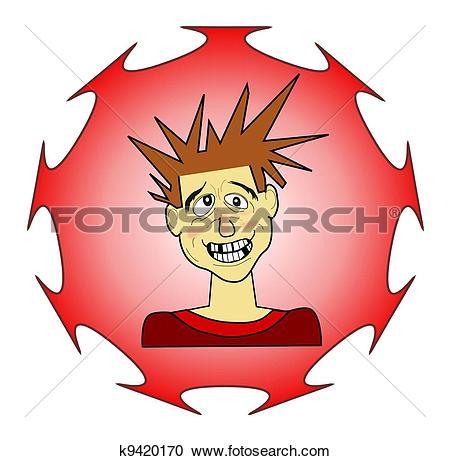 Stock Illustrations of Teen Boy, Spike Hair, Goofy Gesture.