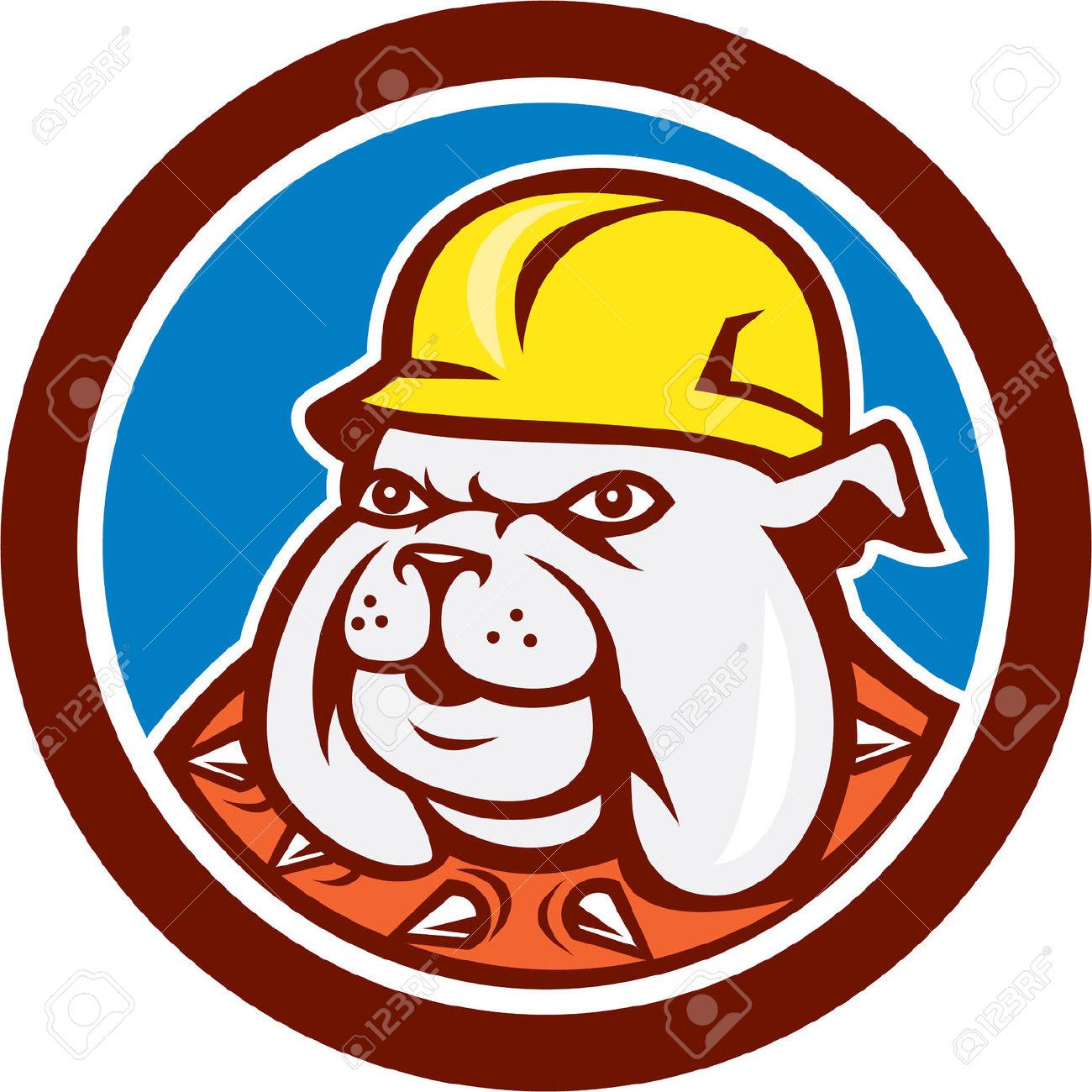 Illustration Of A Bulldog Construction Worker Builder Wearing.
