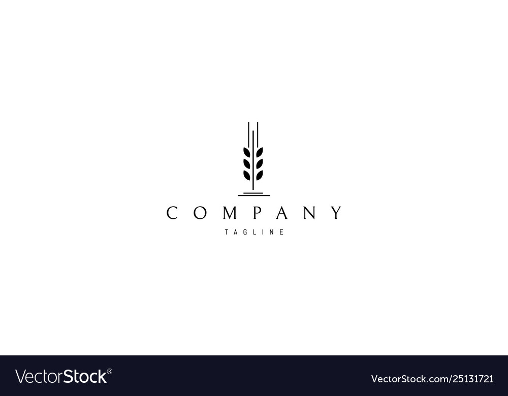 Wheat spike abstract black logo design.