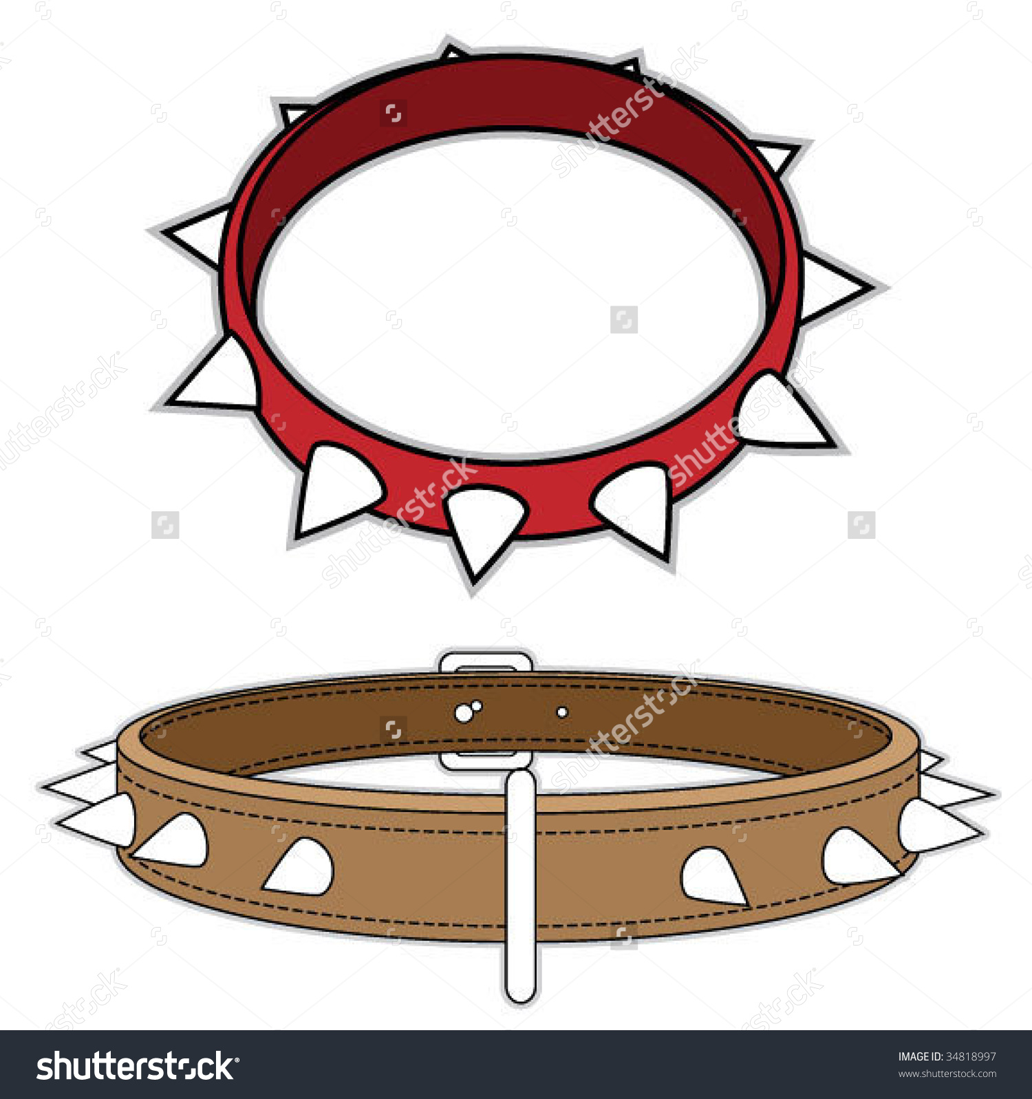 Spike dog collar clipart.