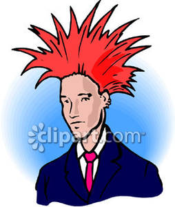Businessman With Spiked Red Hair.