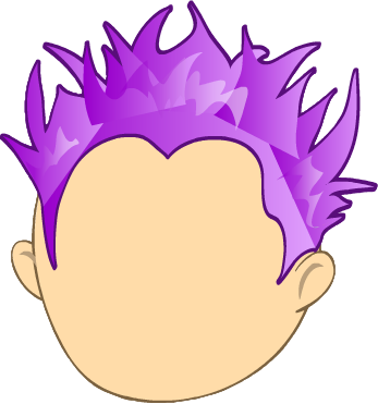 Perm Purple Spiky Hair.